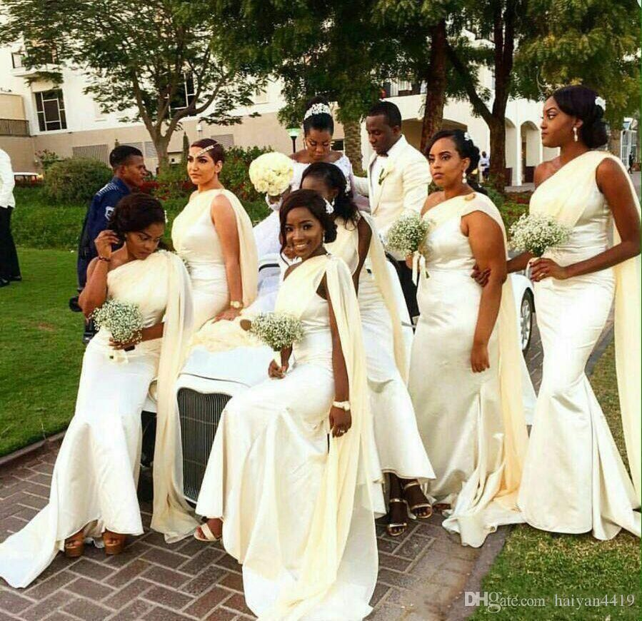2017 New Cheap Black African Bridesmaid Dresses One Shoulder Chiffon Straps  Long Mermaid Satin For Wedding Guest Dress Maid of Honor Gowns Long  Bridesmaids ... feb710434c85