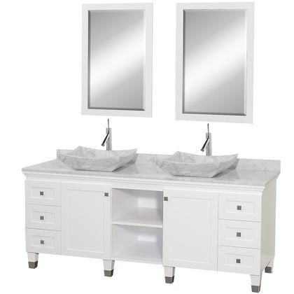 WCV500072WHCWGS3 72 in Double Bathroom Vanity in White with White