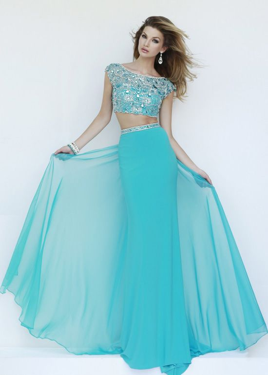 Sexy Two Piece Beaded Cap Sleeves Turquoise Open Back Prom Dress ...