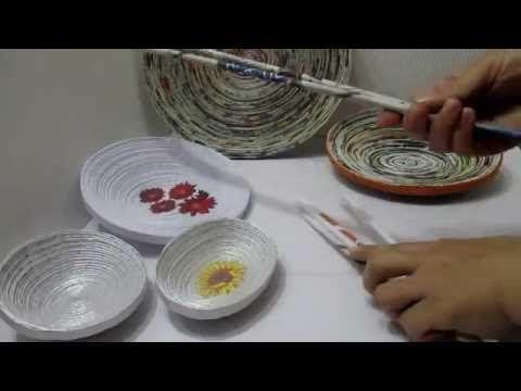 HACER CUENCO PLATO BANDEJA DE PAPEL RECICLANDO PERIÓDICOS, REVISTAS Y PAPEL BLANCO - YouTube