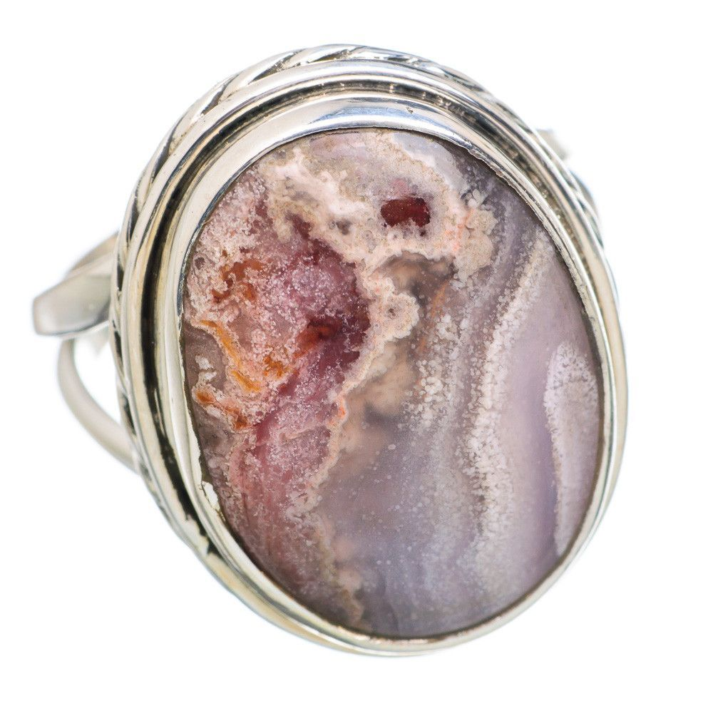 Crazy Lace Agate 925 Sterling Silver Ring Size 7 RING767637