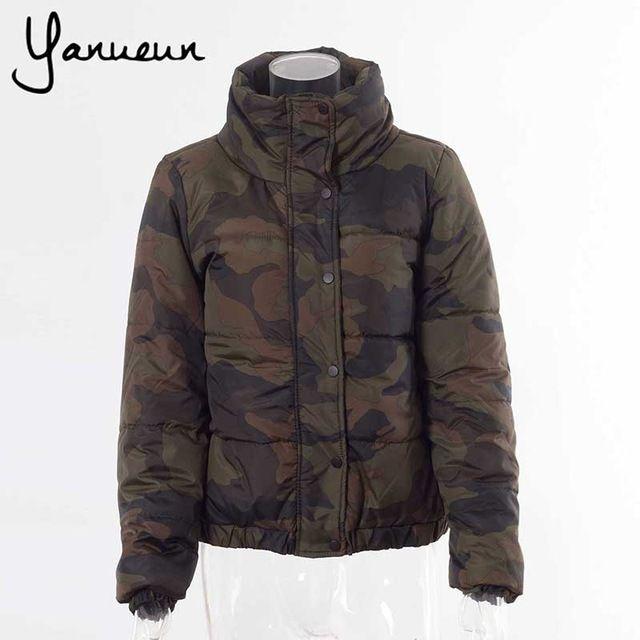37854c3df086b Yanueun Korean Fashion Back Letter Print Camouflage Women Down Jackets  Winter Warm Outwear Coats Army Green Jackets Like if you remember Visit us