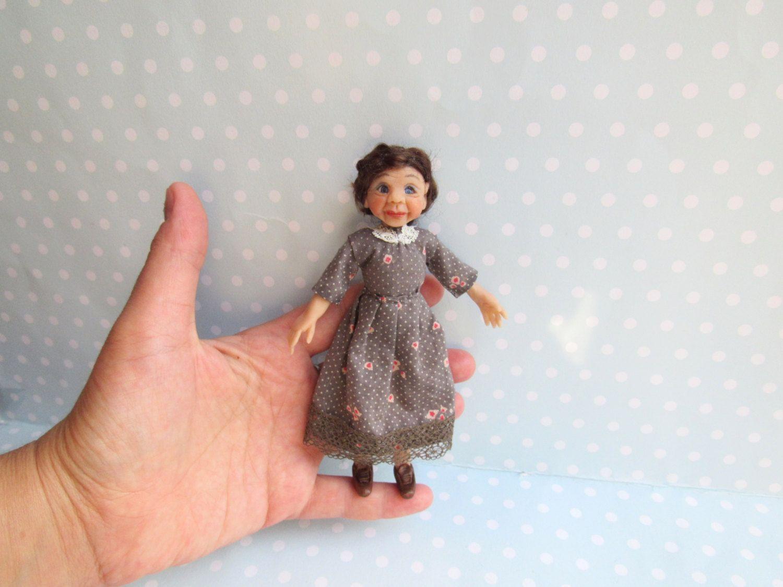 OOAK Puppe alte Lady - Oma Beweglich 13,8 cm Miniatur 1:12 für ...