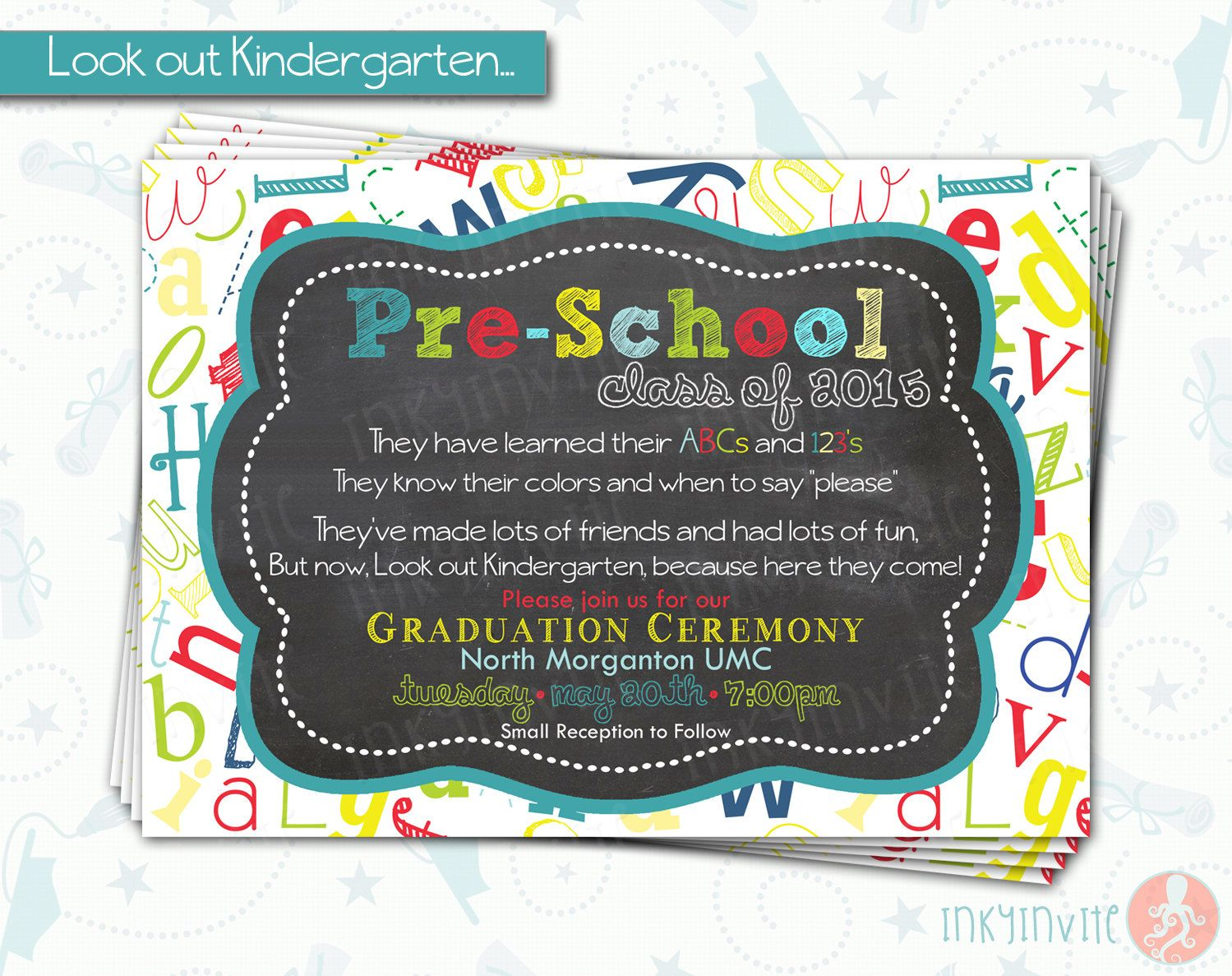 This is a graphic of Striking Preschool Graduation Invitations Free Printable