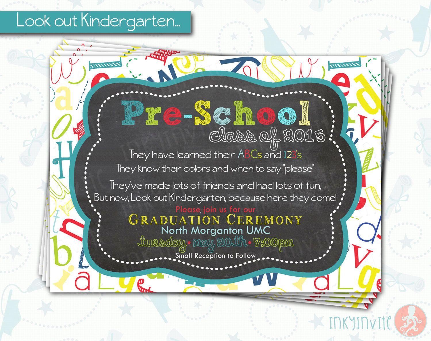 Pre-School Graduation Invitation | Pre K Class Graduation ...
