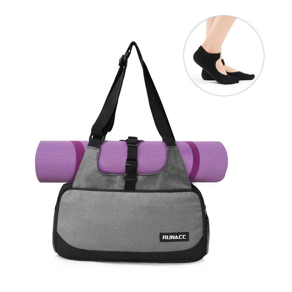 Runacc Stylish Yoga Mat Bag Lightweight Yoga Mat Carrier Women Shoulder Bags For The Essentials 1 Free Pair Of Yoga Toeso Yoga Mat Bag Mat Bag Gym Accessories