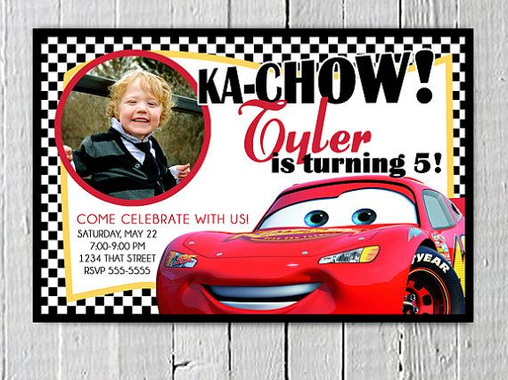Lightening McQueen Printable Custom Birthday Invitation PDF file