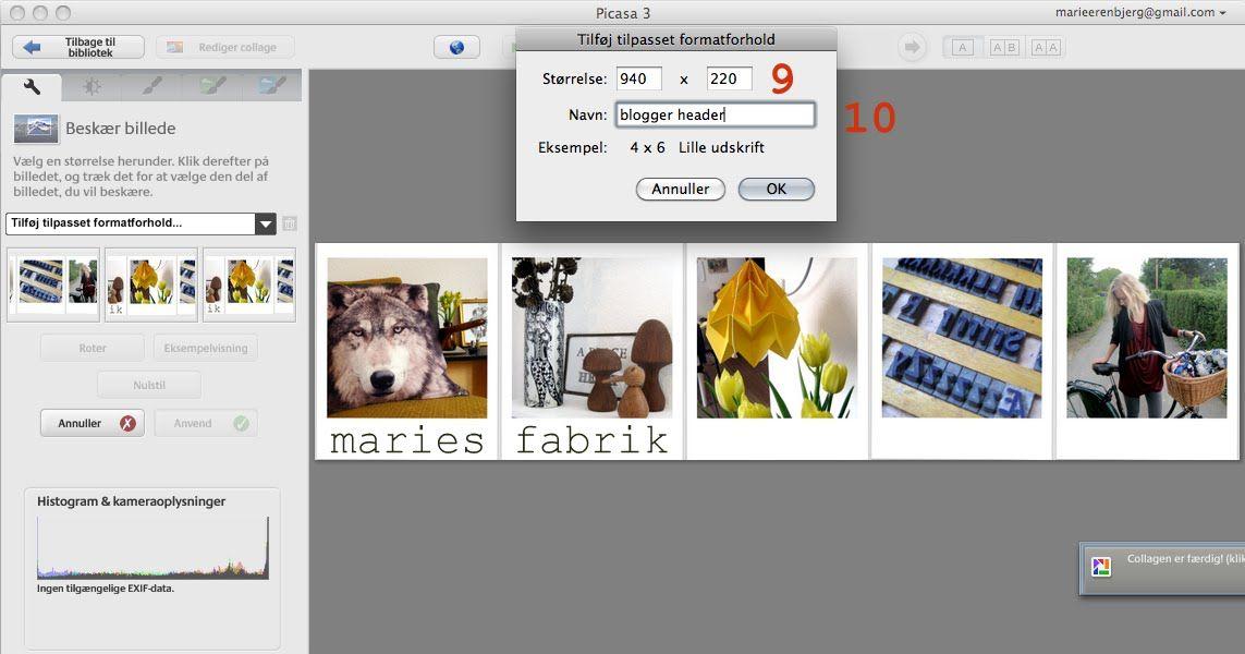 Maries Fabrik Header Diy Guide Picasa Blog Billede