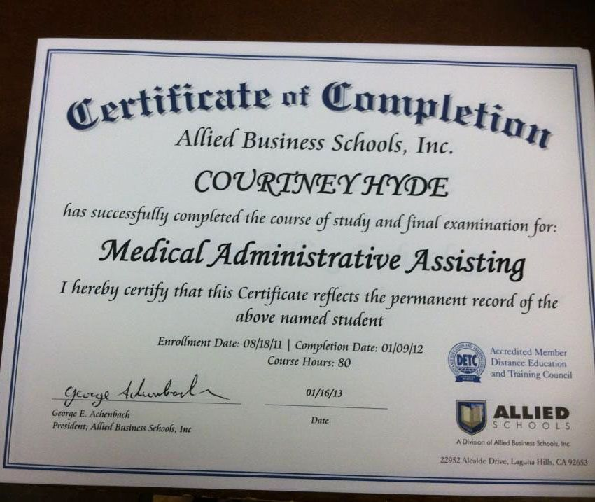 Allied Schools student Courtney Hyde earned her Certificate of ...