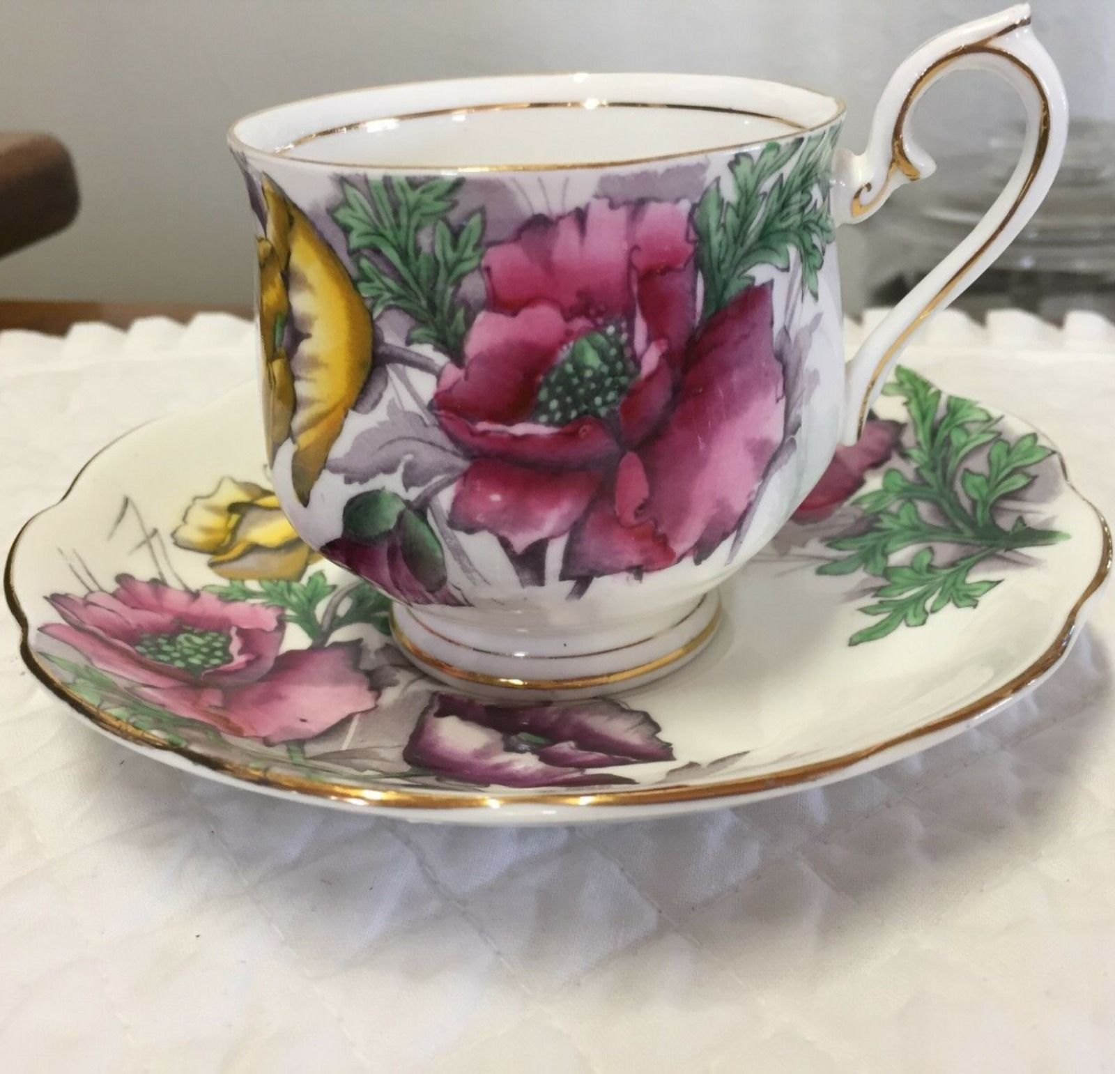 Details About Royal Albert Cup Saucer Poppy Flower Of The Month Bone China Decorative Arts In 2020 Tea Cups Bone China Tea Cups Cup And Saucer