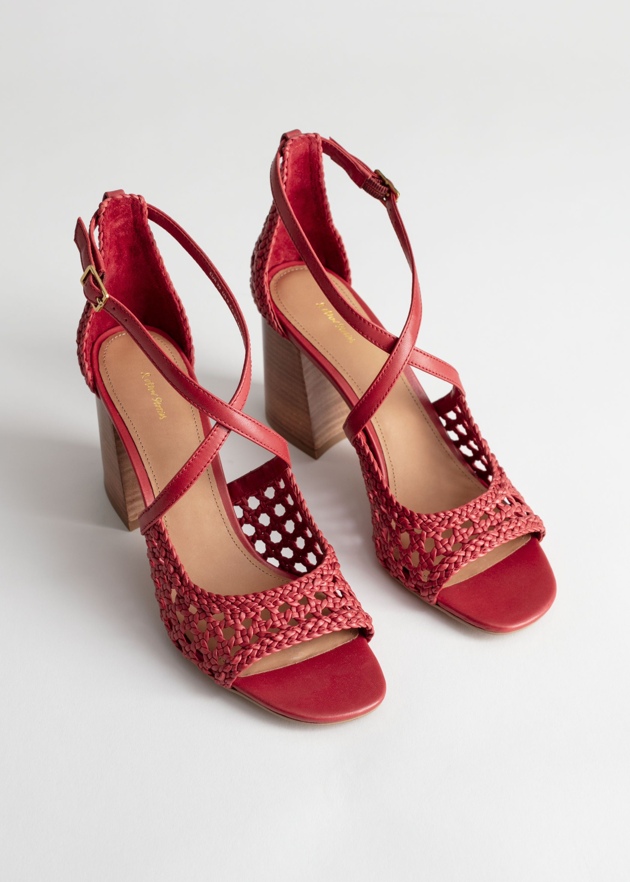 d2180077a425b Woven Leather Heeled Sandals in 2019 | cusual summer | Leather heels ...