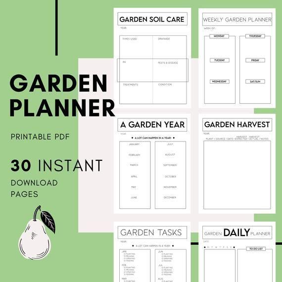 Garden Planner Printable Garden Bundle Plant Planner Etsy Garden Planner Garden Planning Layout Printable Planner