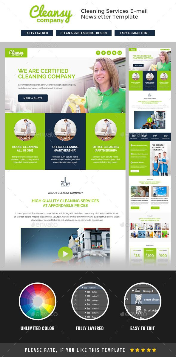 Cleansy  Cleaning Service ENewsletter Template Psd Download