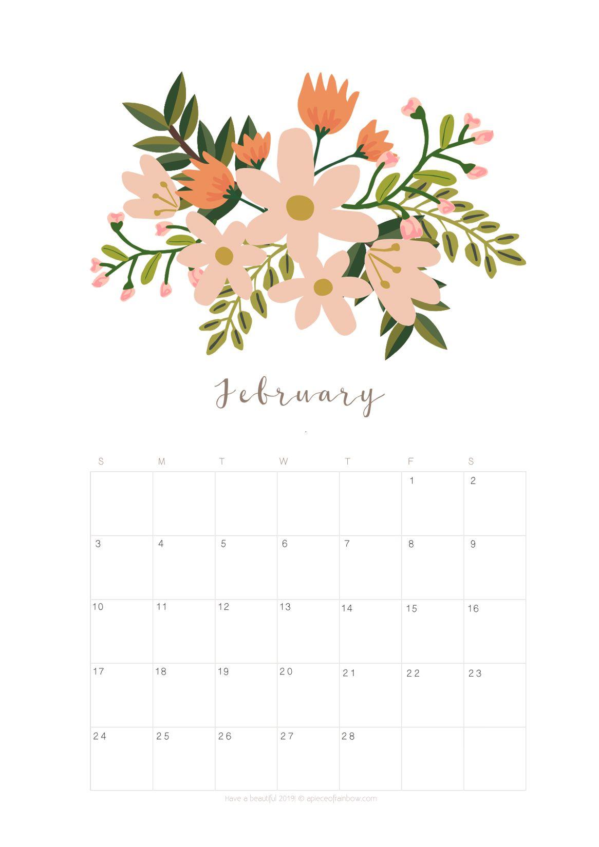 Beautiful February 2019 Calendar Printable February 2019 Calendar Monthly Planner {2 Designs