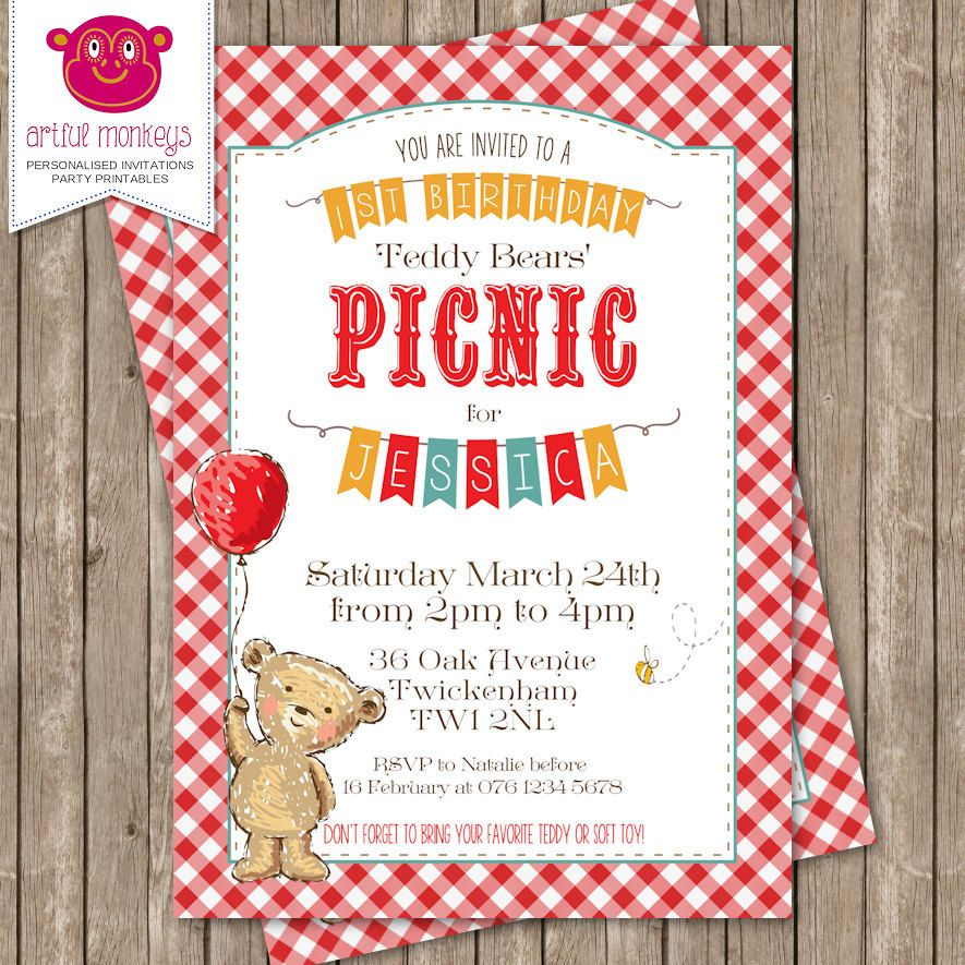 Personalised Teddy Bears Picnic Invitation  Diy Printable Or