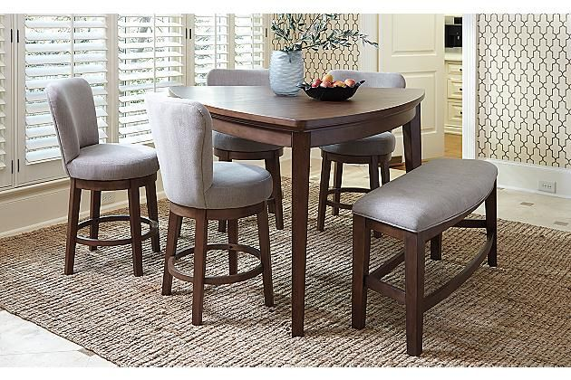 medium brown mardinny counter height dining room table view 3 - Height Of Dining Room Table