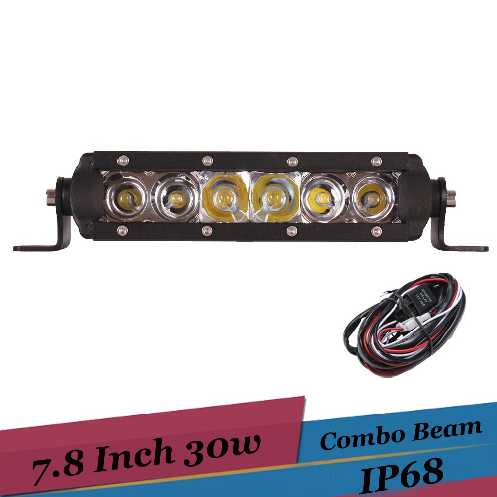 30w 8 Inch Combo Led Light Bar Offroad 4x4 Work Light For Suv Awd Atv Truck Trailer 12v Auto Driving Lamp For Led Light Bars Bar Lighting Work Lights