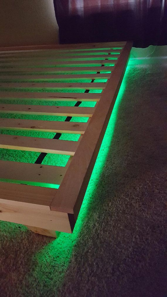 Platform Bed With Led Lights Low Profile By Peacelovewood