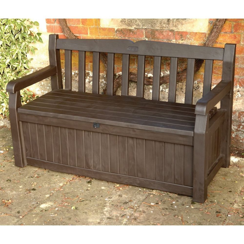 Outdoor Storage Bench Box Patio Deck Brown Pool Garden Yard