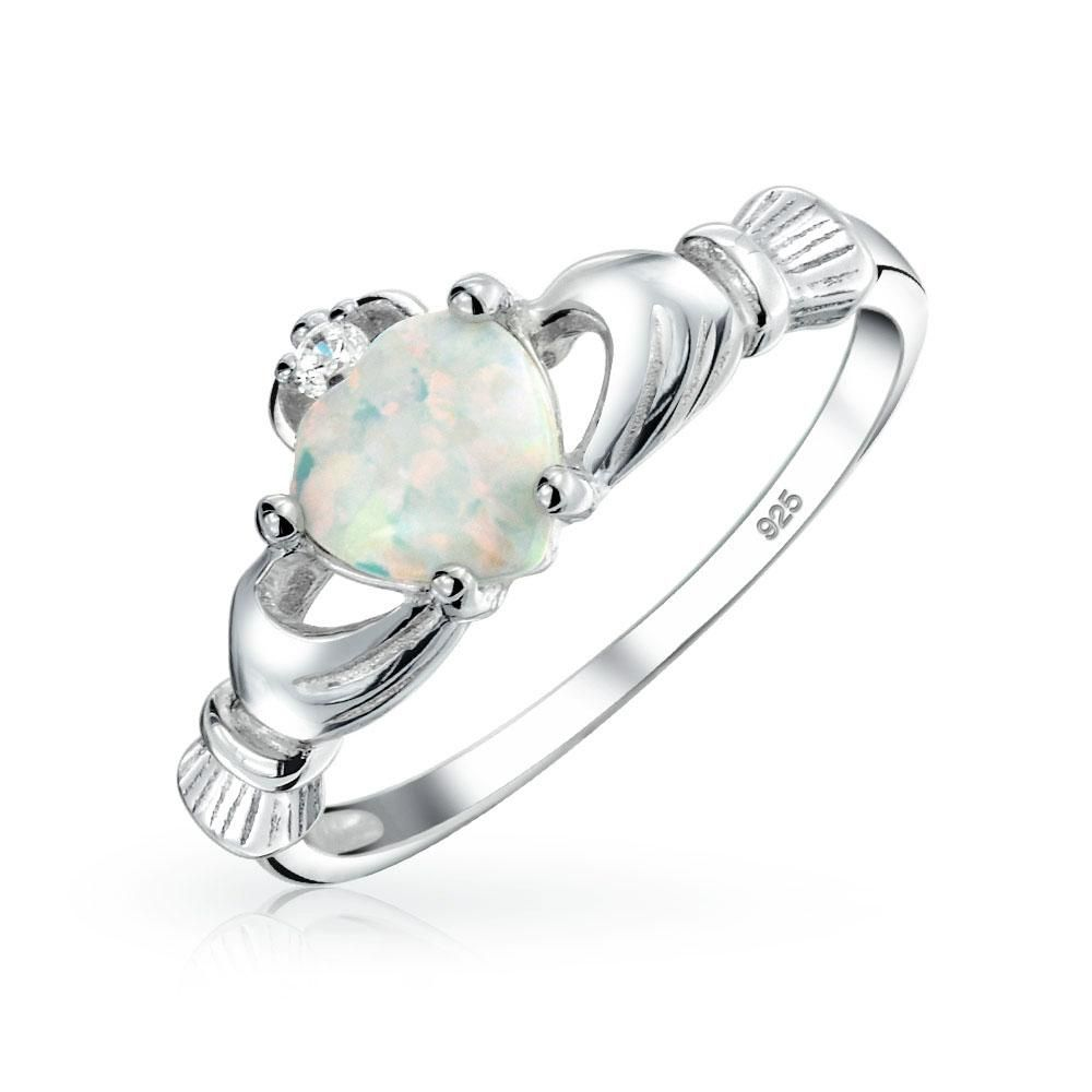 BFF Celtic Irish Friendship Couples White Created Opal