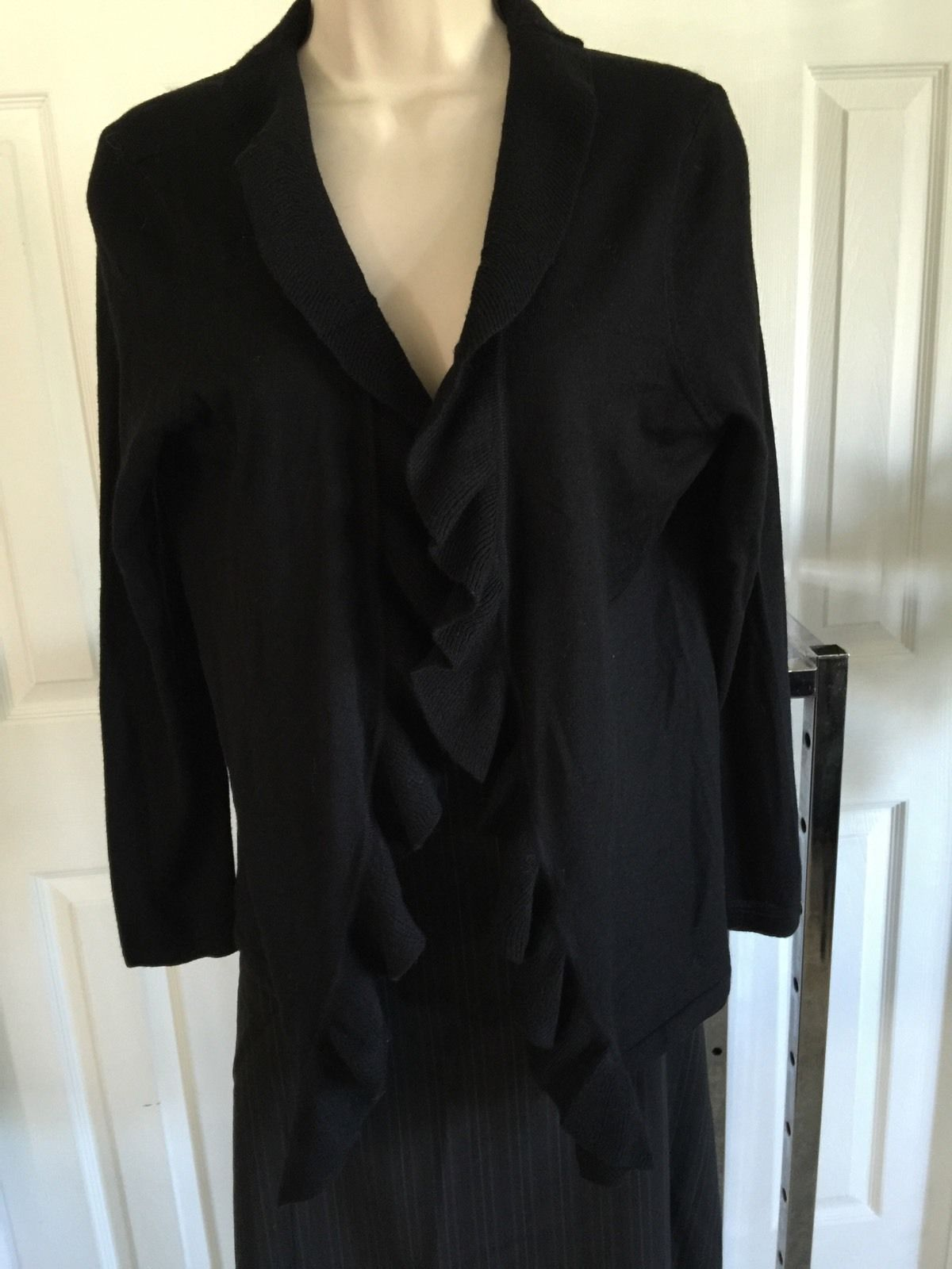 Talbots petite all merino wool cardigan sweater black ruffle front ...
