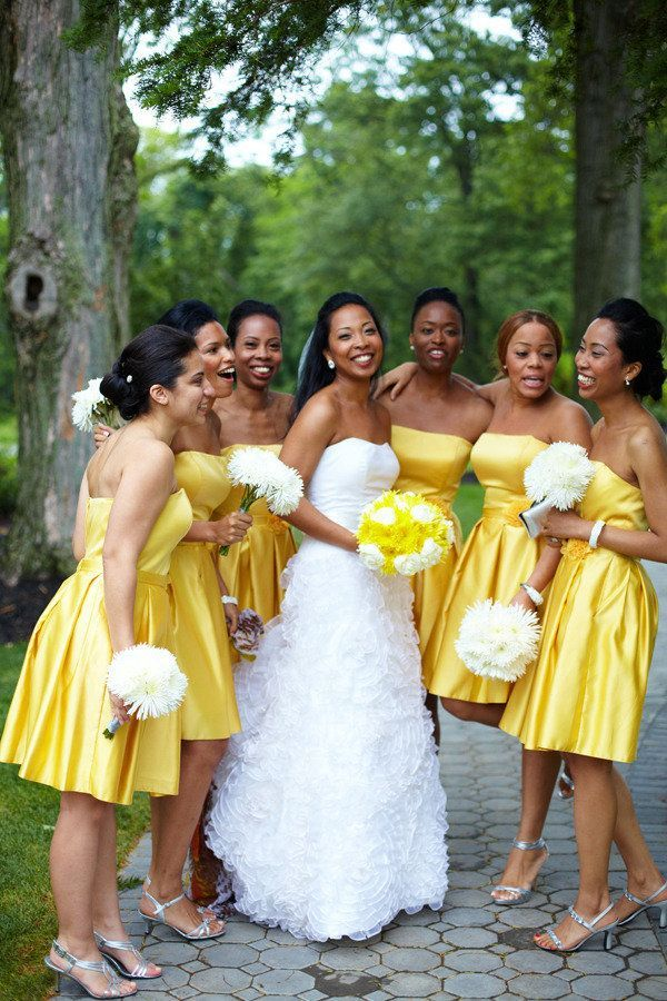 Strapless Satin Yellow And White Wedding Bridesmaid Dresses And