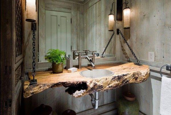 Bachas para ba o sobre mesada rusticas buscar con google for Muebles rusticos de madera para banos