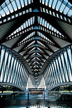 Gare de Saint-Exupéry TGV railway station at Lyon-Saint Exupéry Airport, Lyon, France (Santiago Calatrava)