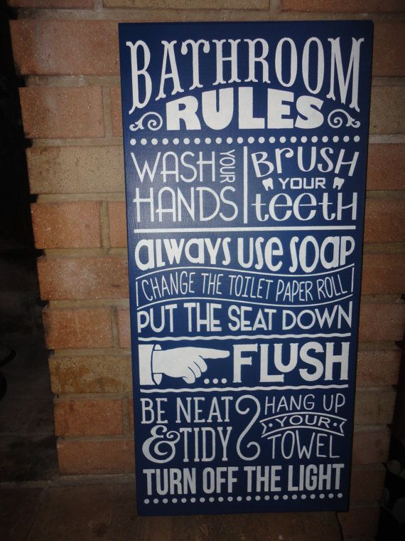 Bathroom Signs Rules navy bathroom sign /home decor sign/bathroom rules/ hand painted