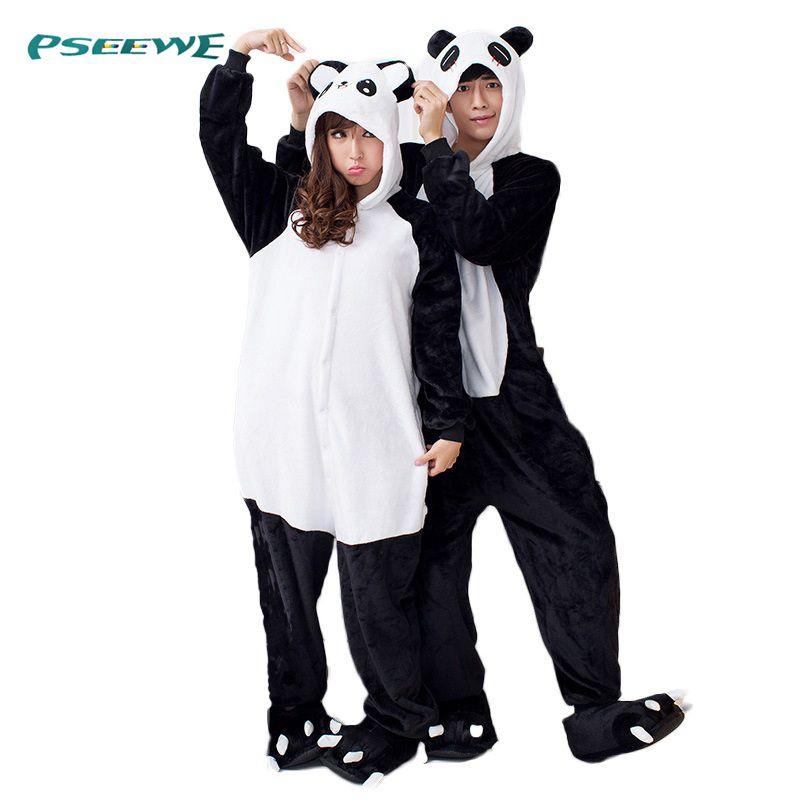 Pyjama vrouwen Panda Rompertjes voor volwassenen slaap lounge pyjama Panda nachtkleding Flanel Dier pyjama een stuk