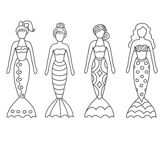 Color sheet mermaids Printables