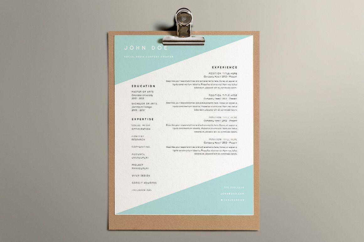 Great Modern Geometric Resume Template Simple But Beautiful