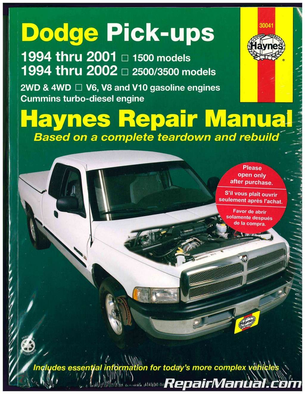 This Dodge Pickups Haynes Repair Manual provides service information for  1994-2002 Dodge Pickups. Get the Haynes workshop manual and fix it yourself.