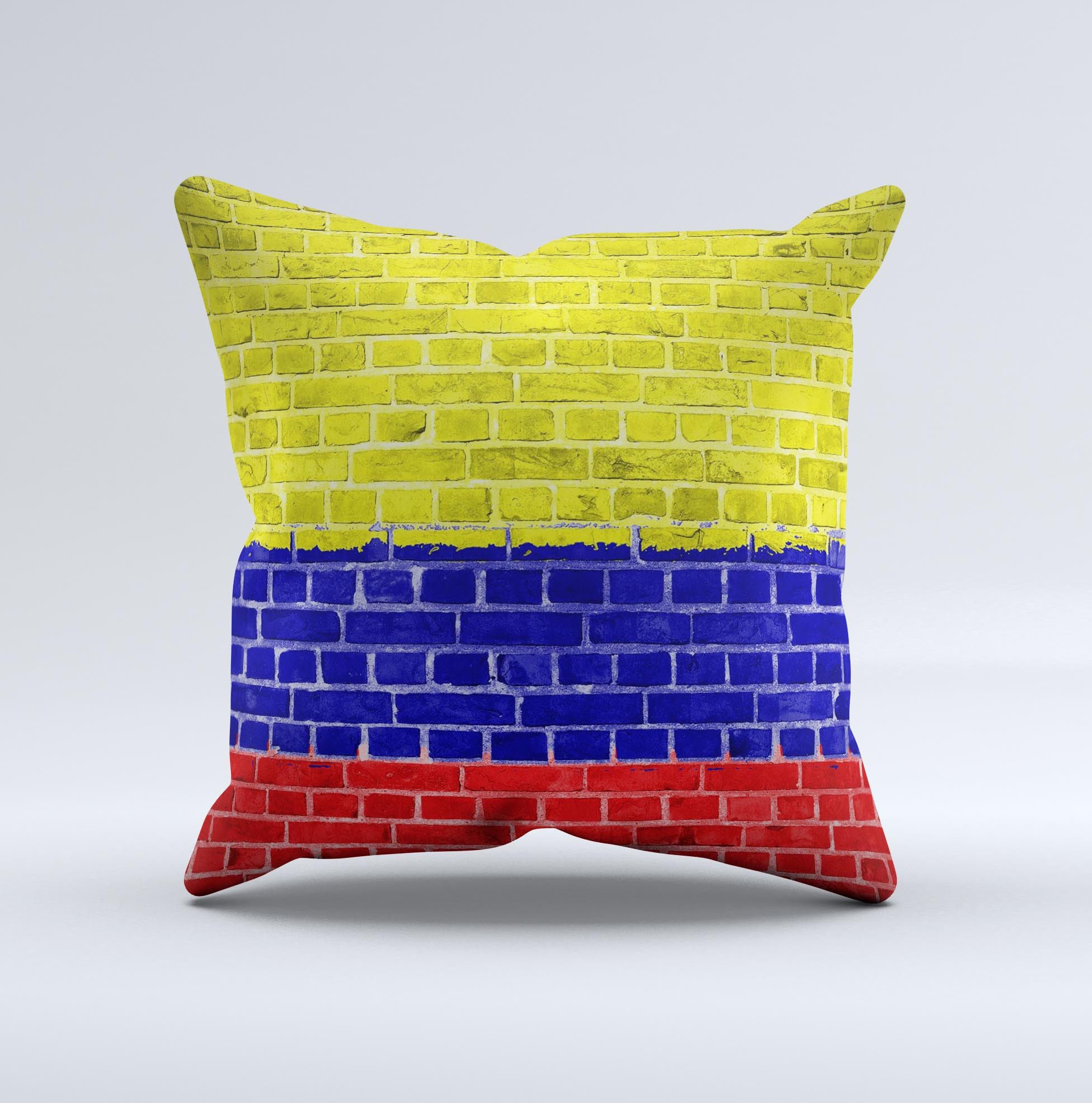 Red Blue and Yellow Vibrant Brick Wall ink-Fuzed Decorative Throw ...