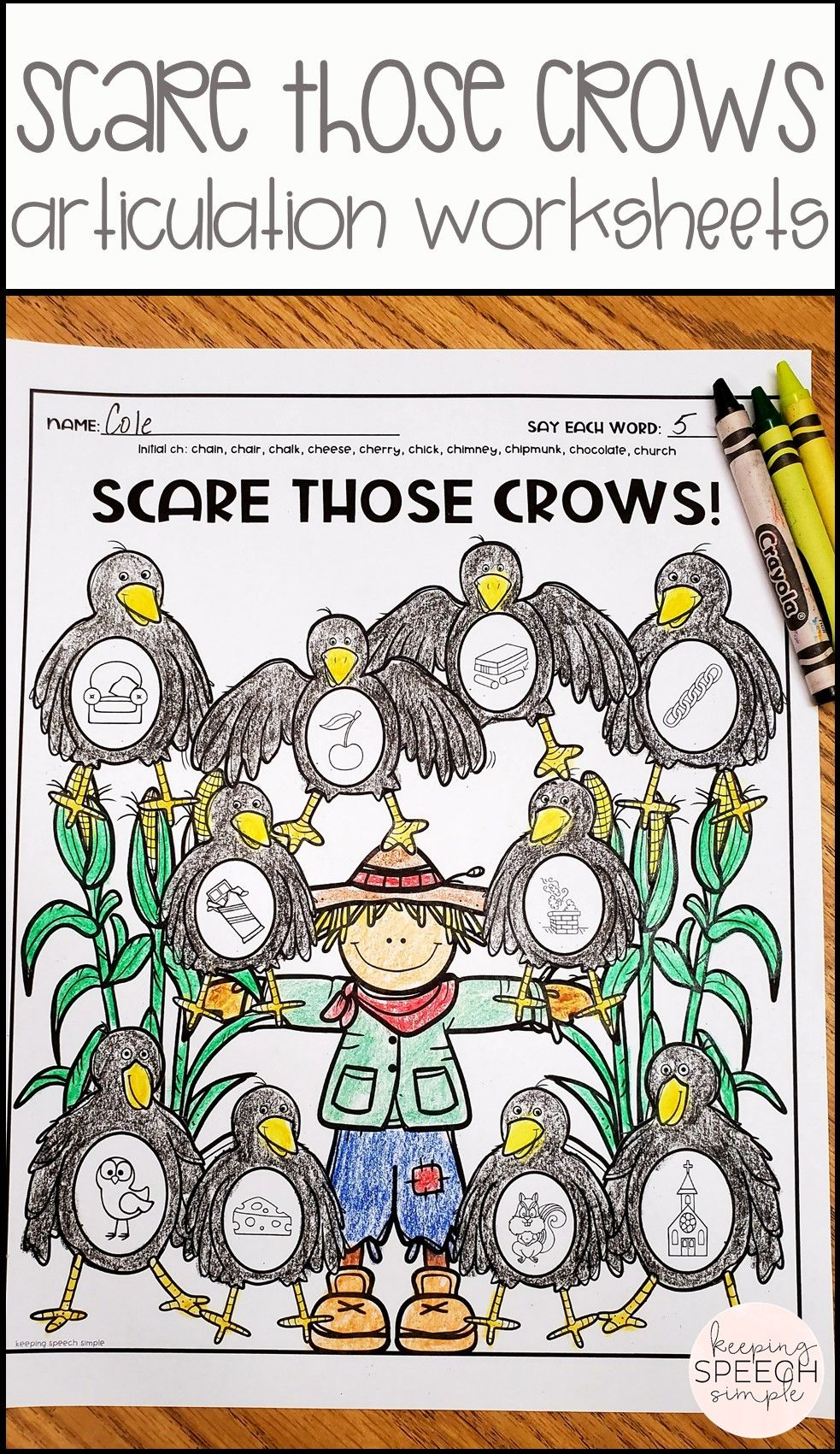 Speech Therapy Worksheets For Fall Scarecrow Themed Articulation Worksheets Speech Therapy Worksheets Speech Activities [ 1701 x 983 Pixel ]