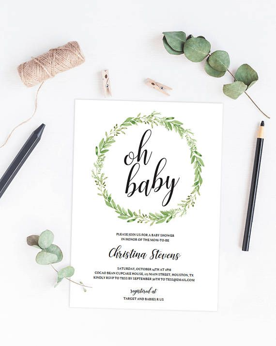 Greenery Baby Shower Invites Instant Download Green Leaf Wreath - invitation template nature