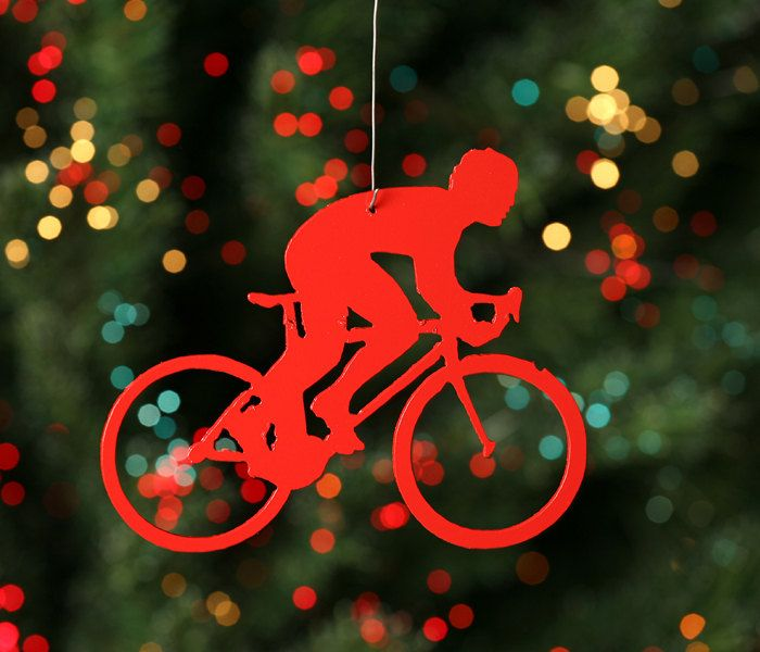 speedy guy road bike rider red bicycle christmas tree ornament 650 via etsy - Bicycle Christmas Ornament