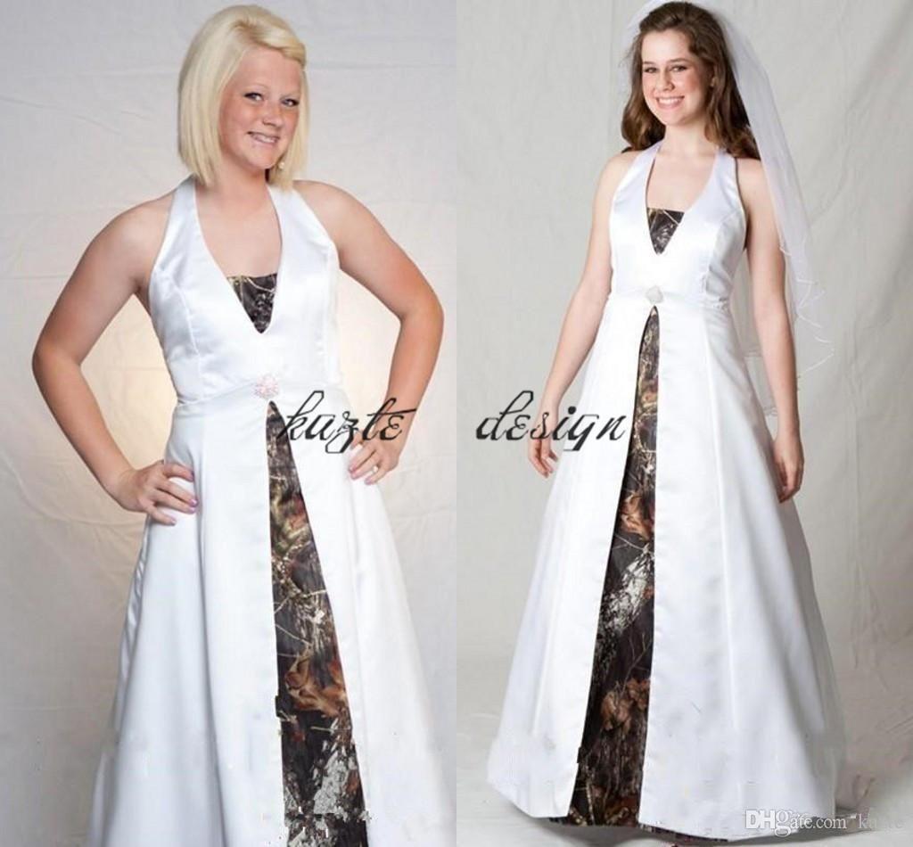 2018 vintage Customized Halter Camo A-Line Wedding Dresses Plus Size ...