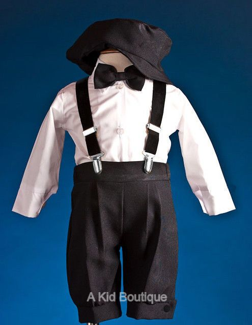 23b42dba3e27 New Boys Black White Knickers Vintage Suit Outfit 5pcs Set Christmas ...