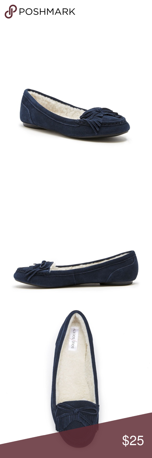 Sole Society Pari Moccasin, Size 7 Sole Society Pari Moccasin in Navy Suede, Size 7. Never worn, but no box available. Sole Society Shoes Moccasins