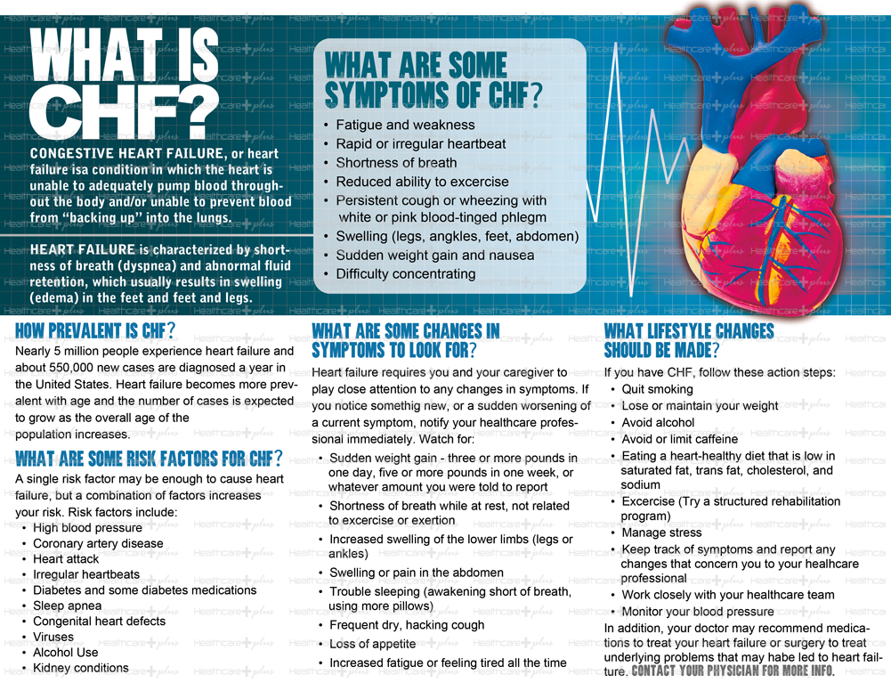 Congestive heart failure CHF also called heart failure is a condition in which the heart can no longer pump blood as efficiently as it used to This causes blood