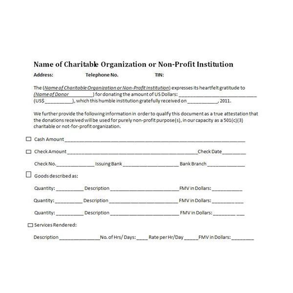 Templates For Donation Receipts