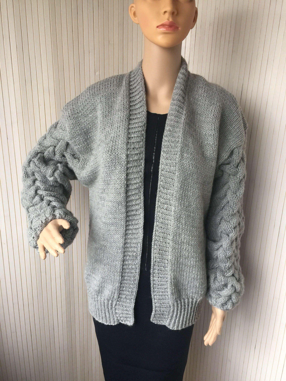 75dcbb3e72 Grey Hand Knit Oversized Cardigan   Chunky Knit Winter Cardigan   Women  Warm Cardigan   Winter