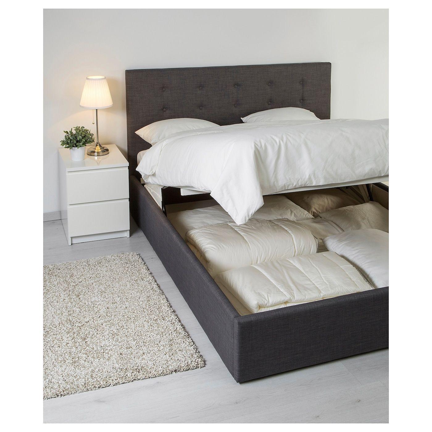 Gvarv Ottoman Bed Skiftebo Dark Grey Grey Standard King In 2020 Ottoman Bed Grey Bed Frame Bed Frame With Storage