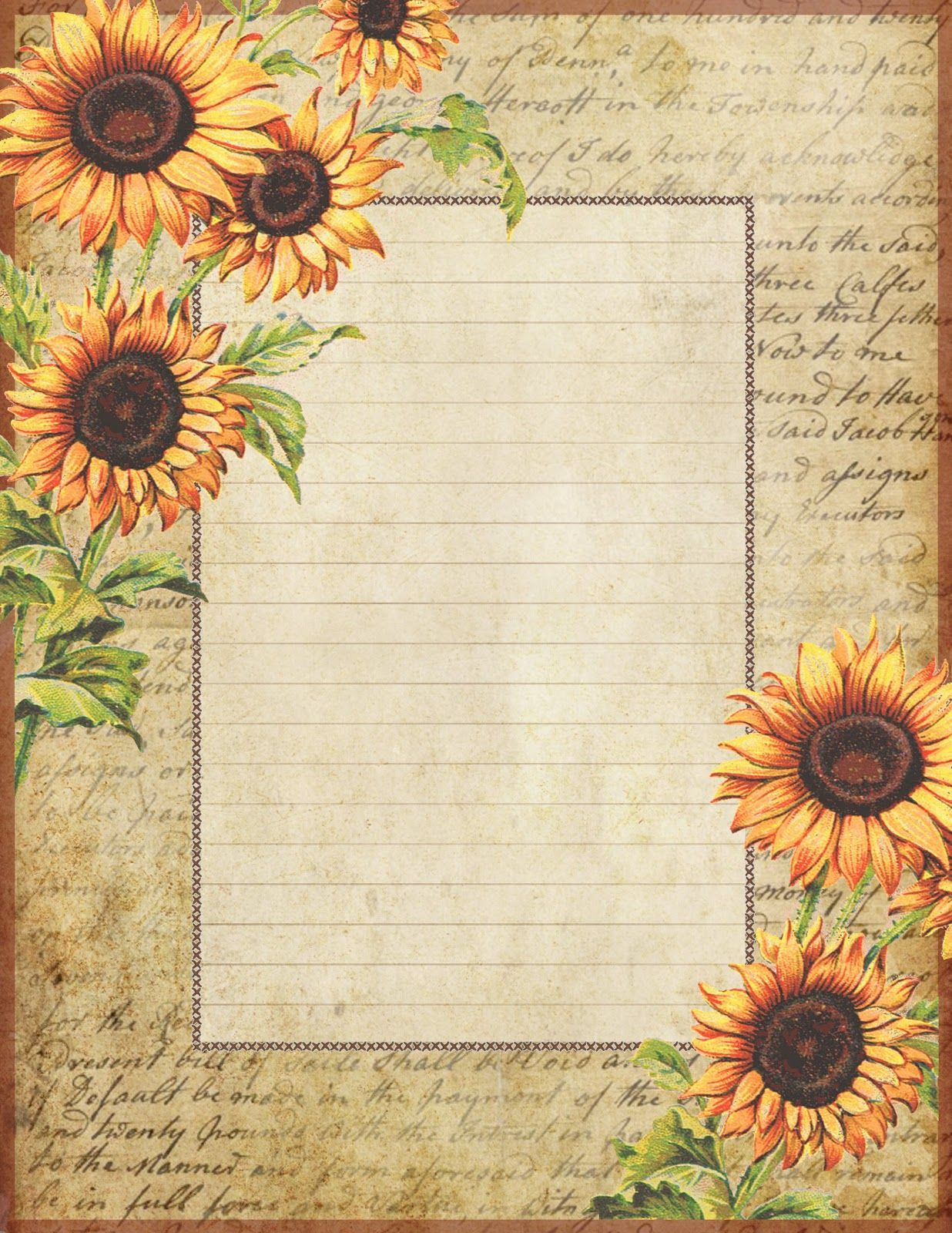 Sunflowers ~ lined stationery | Graphics: Lilac & Lavender Blog ...