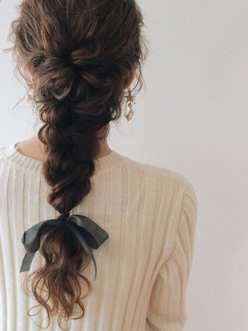 bridal hairstyle with a loose braid and a silk ribbon #bridalstyle #bridalhair..., #braid ...