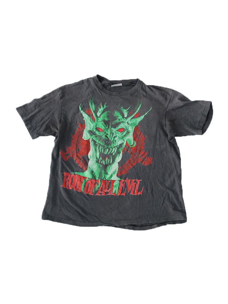 f3e7d1fbd *Vintage 1988 Slayer tour shirt *Hanes tag size L *Few tiny holes, faded  *Neck to bottom hem 23.5