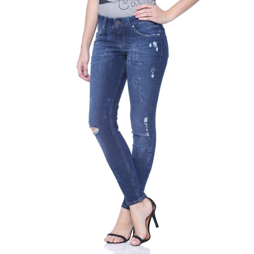 Calça Jeans Rasgadas com zíper na lateral