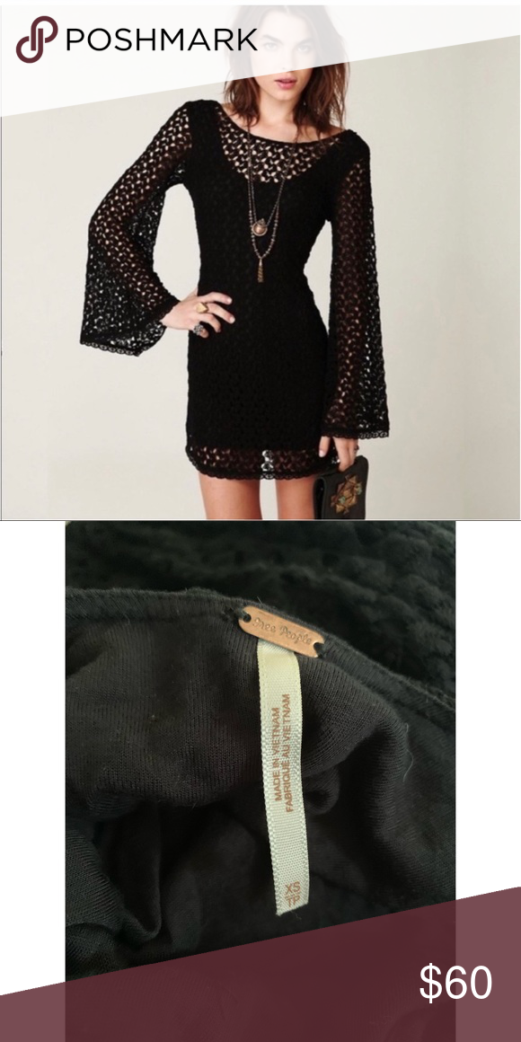 517519f9305f Free People Crochet Bell Sleeve Dress Excellent condition Free People  Dresses