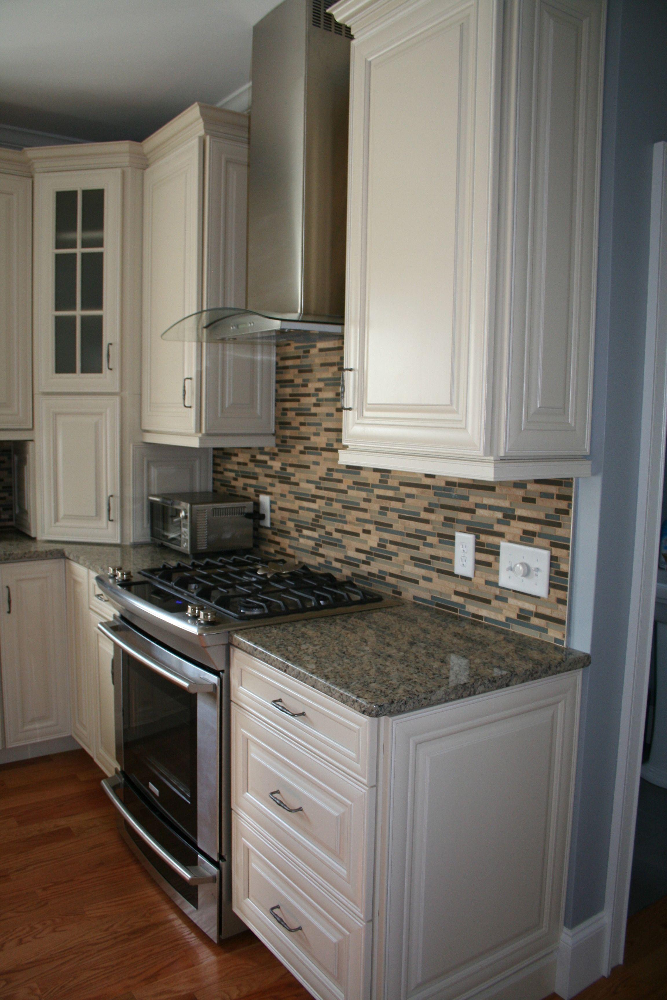 Waypoint Kitchen Cabinets Restoration Hardware Island Cabinetry In Maple Cream Featuring An Appliance